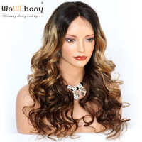 WoWEbony Wave Lace Front Wig Human Hair Ombre #2/27/4 Lace Wig with Baby Hair Indian Remy Hair Natural Hairline Medium Cap