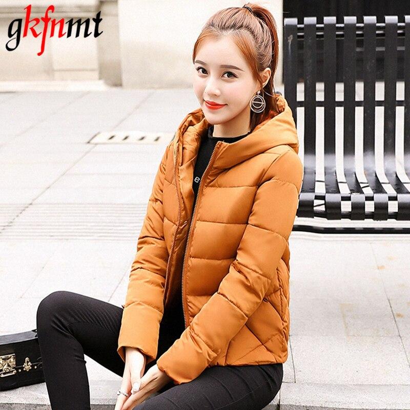 Gkfnmt 2018 с капюшоном Мода Плюс Размеры 3XL Для женщин зимняя куртка одноцветное Для женщин s основной осень короткий жакет женский пальто розов...
