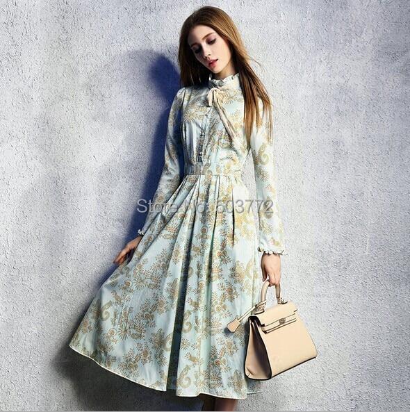 2015 New Spring Women Long Dress Light Blue Floral Print Bow Elegant Full Sleeve Slim Ankle-Length - Flora Vogue Apparel Co.,Ltd store