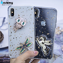 Ascromy For iPhone X Case Luxury Jewelry Pearl Glitter Flower Horse Owl Silicone Cover For iPhone Xs max 8Plus Coque Accessories(China)