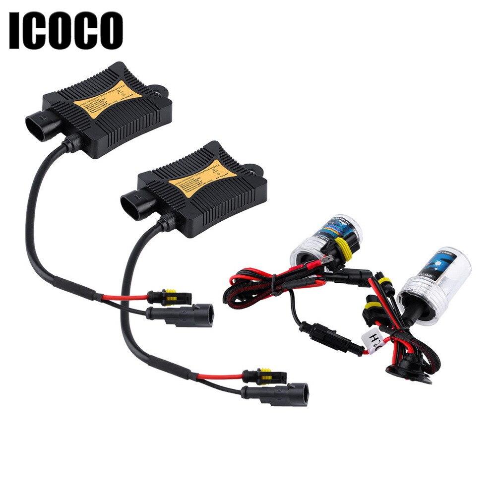 Car color kit - Icoco 55w 12v H7 6000k Xenon Hid Kits Car Headlights 2pcs Lot 55w Dc12v Slim Ballast Xenon Hid Kit H7 White Color Car Lights