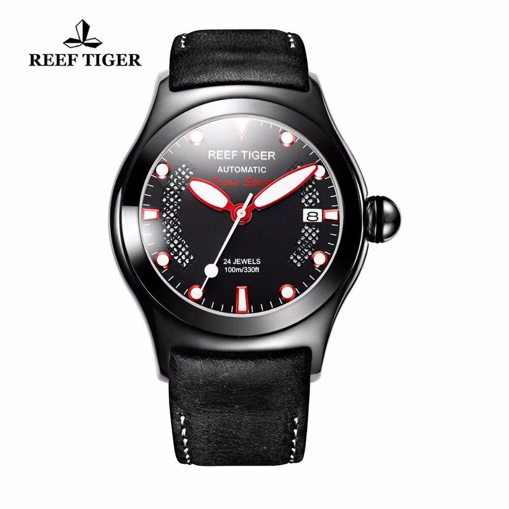 Reef Tiger/RT Mens Casual Sport relojes con fecha marrón oscuro CalfskinLeather luminoso automático relojes RGA704