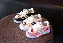 Novo 2017 moda LED lighted sneakers encantadoras bonito dos miúdos meninos meninas sapatos de bebê crianças sapatos de couro respirável de alta qualidade