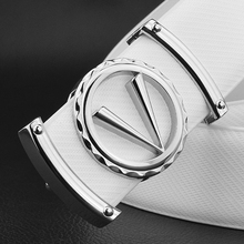 High Quality off white Casual Letter V belt Smooth buckle men