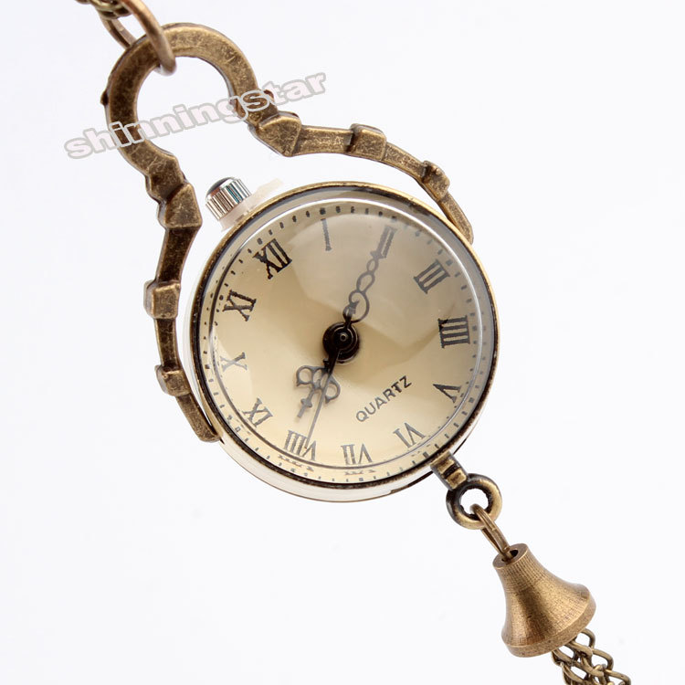 Dropshipping Antique Vintage Big Glass Ball Bull Eye Necklace Quartz Pocket Watch Gift UK P10