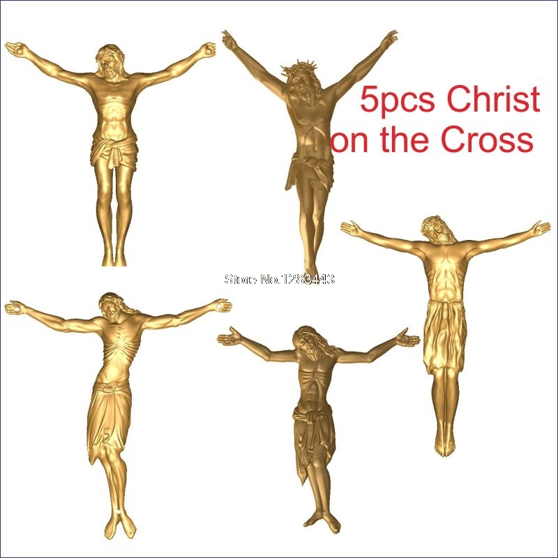 5pcs Christ On The Cross 3d Model STL Relief For Cnc STL Format Jesus On The Cross 3d Relief Model STL Router  Engraver ArtCam