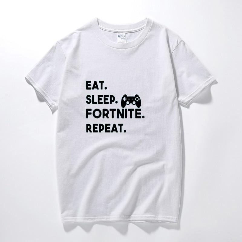 Men Eat Sleep Fortnite Repeat Round Collar Casual Summer Top Tee cotton T-Shirt 2018 New Print T-shirt Mens Short Sleeve