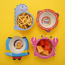 Baby Safe Bamboo fiber Dining Plate Solid Cute Cartoon Children Dishes Suction Toddle Training Tableware Kids Feeding Bowls(China)