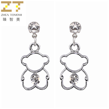 Hot New Fashion Dangling Long Statement Earrings Wholesale Animal Bear Pendant Drop Earrings Crystal For Women Jewelry 2017 Gif