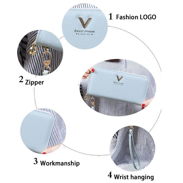 Fashion Women Wallet Long Zipper Pu Handbag Clutch Best Phone Wallet Female Case Phone Pocket Women's Purse 3