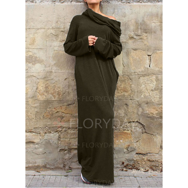 aaeb2a5211c9b HowenLew Off Shoulder Maxi Casual Dresses Wrap Dress Shirt Long Sleeve  Casual Fashion Women 2017 Army Green Black Autumn Winter-in Dresses from ...