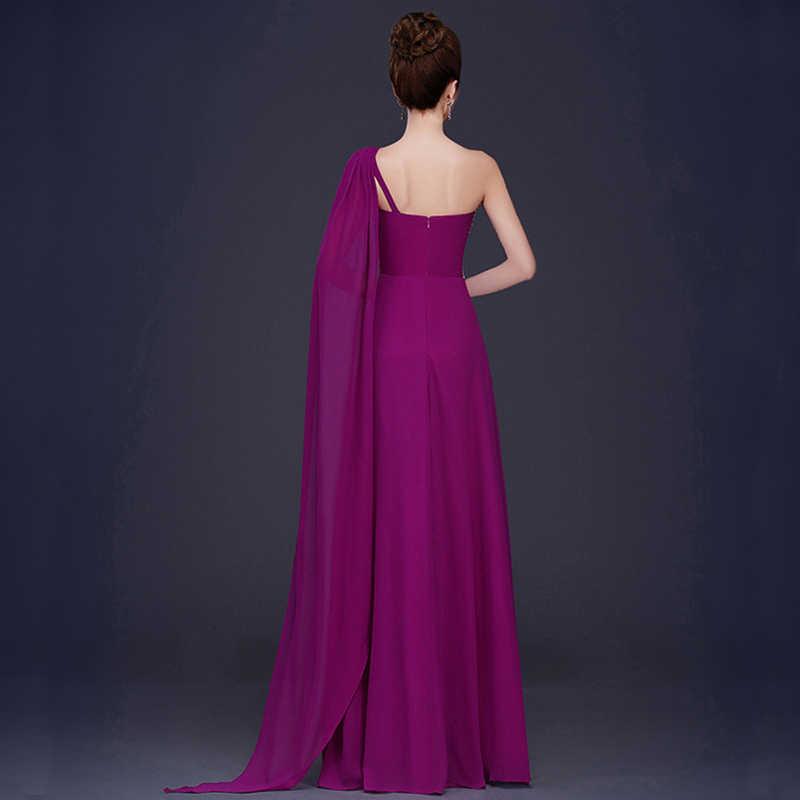 43e1d39b2869c Long Evening Dresses 2019 A-Line One Shoulder Chiffon Formal Prom Evening  Gowns Cheap vestido de noite