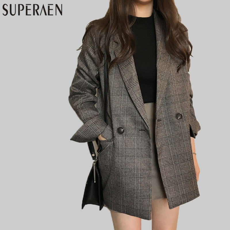 SuperAen Retro Lattice Suit Jacket Women Long Sleeve Cotton Wild Ladies Jacket Europe Casual Vintage 2017 Autumn New Women   Coats