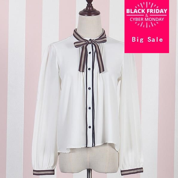 Japanese Style Fint Vintage Stand Round Collar Chiffon Long Sleeve White Blouse Chocolate Tie Bow Lolita Shirt Tops B07