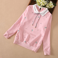 Hot Girls Long Sleeved T shirt 2018 New Children's Lovely Lapel Bottoming Shirt Kids Clothes Spring & Autumn Fashion Tops A492