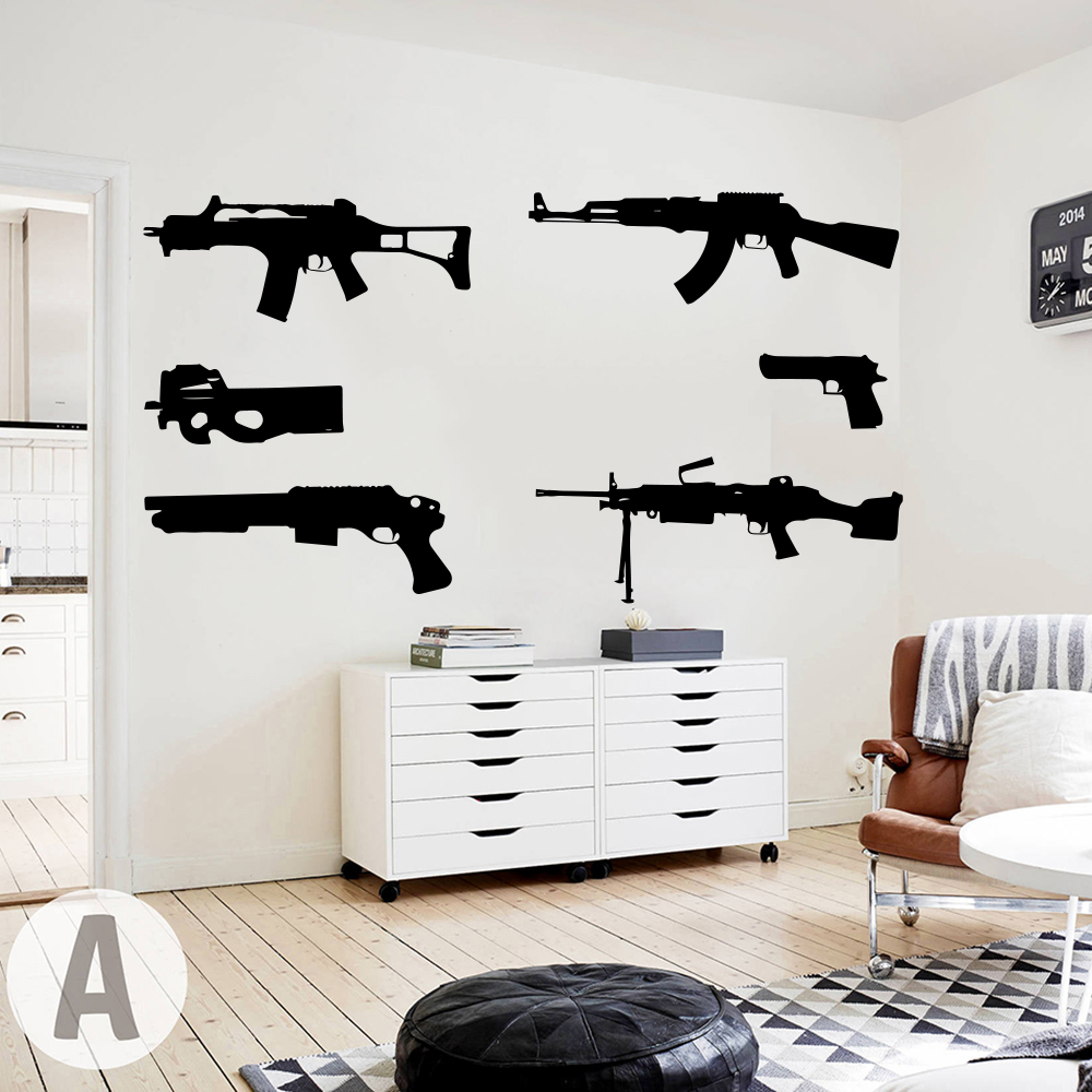 Set Of 6 Guns Wall Decal Kids Room Boy Room Ak 47 Weapon Army Solider Military Wall Sticker Bedroom Play Room Vinyl Home Decor
