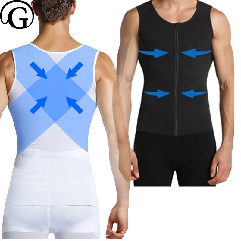 PRAYGER Man Shaper New Gynecomastia Body Shaper Men Slimming Belly Corset Chest Binder Control Waist Tank Tops camiseta para quemar grasa