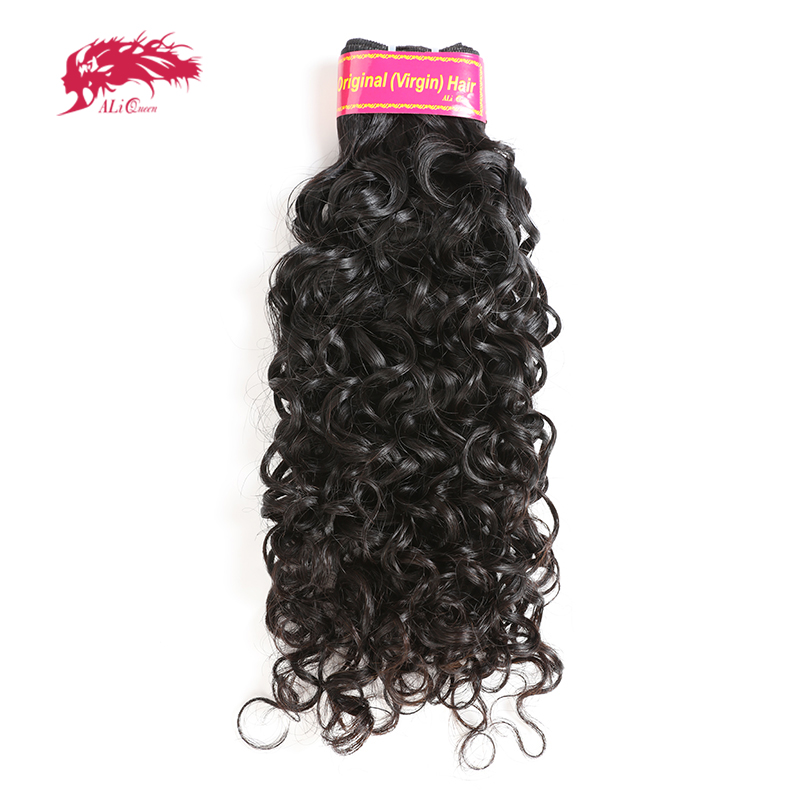 Ali Queen Hair 10A Brazilian Water Wave Human Hair Weave Bundles Virgin Hair Extensions Natural Color