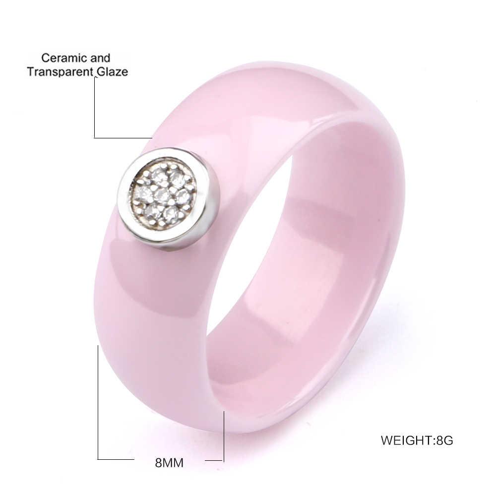 新デザイン女性レディー指輪スムーズ曲面素敵なかわいいライトピンク色セラミックリングジュエリークリスマスギフト婚約ギフト
