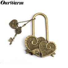 OurWarm Rustic Wedding Souvenirs Double Heart Love Lock for Bridge Antique Keys Engraved You+Me=Family Couple Gift