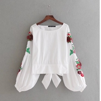 2018 New Women vintage sleeve embroidery loose slim blouse shirts Casual back bow tied white Blusas Femininas tops LS1373