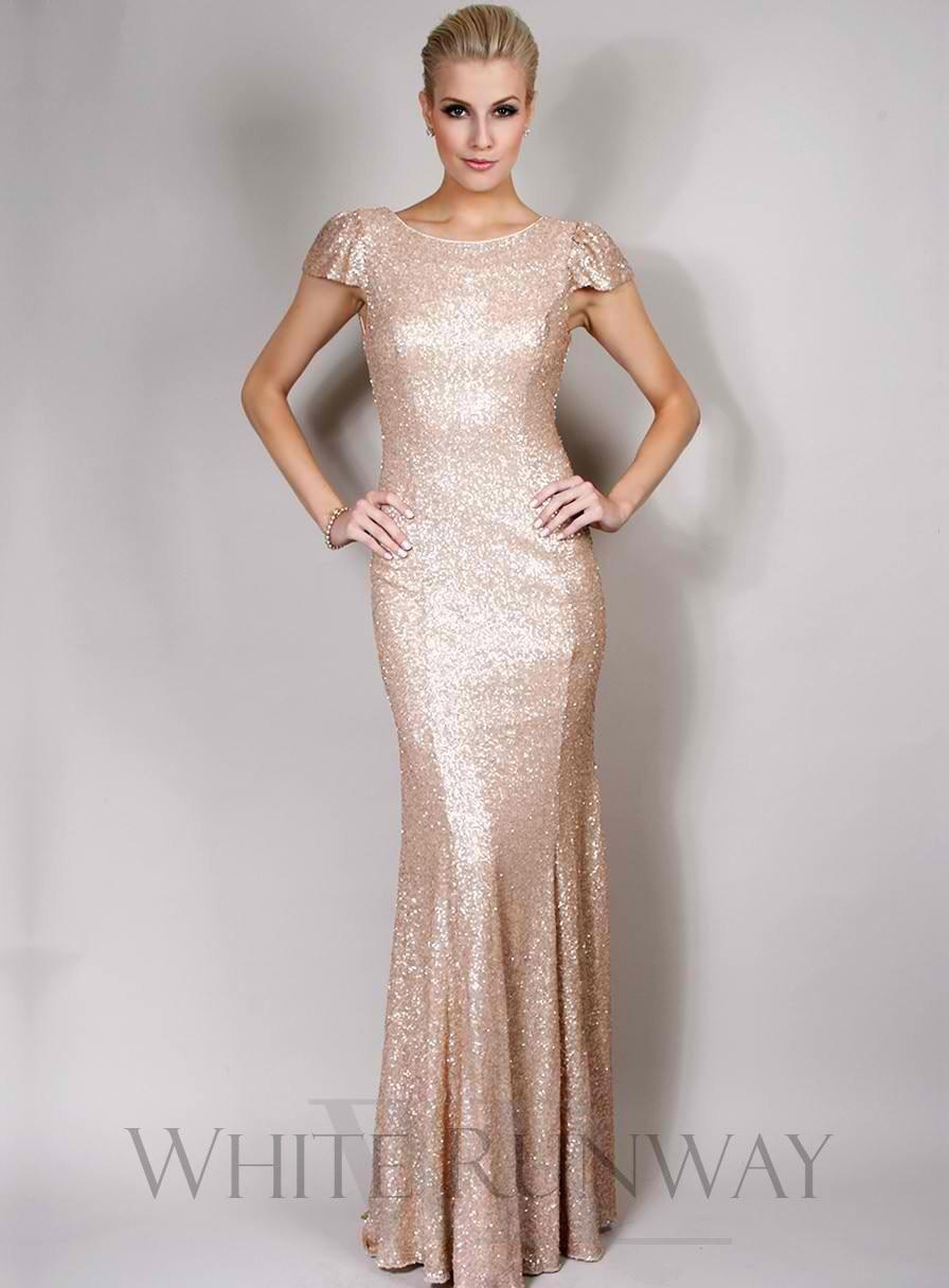 2017 Floor Length Gold Sequin Bridesmaid Dress With Short Cap ...