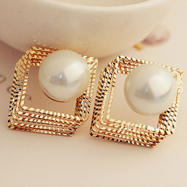 Trendy Design Women S Stud Earring New Arrive Square Pearl Earrings Multi Layer Hollow Out Gold
