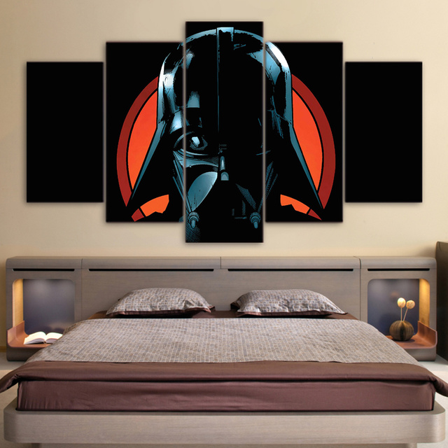 5 Pcs/Set Framed HD Printed Star Wars Movie Picture Custom Canvas Prints Animal Oil Painting Artworks Poster