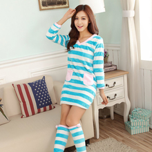 Casual Striped Thick Warm Flannel Nightgowns for Women 2018 Autumn Winter Long Sleeve Coral Velvet Nightdress