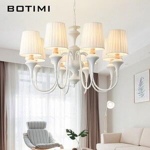 Image 1 - BOTIMI Bắc Âu LED Đèn Chùm Với Chụp Đèn Vải Bố Cho Phòng Khách Xanh Đèn Chùm Ánh Sáng Màu Trắng Hiện Đại Đèn Treo Phòng Ngủ