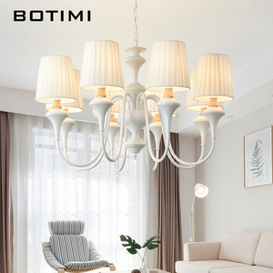Image 1 - BOTIMI Nordic LED Chandelier With Fabric Lampshade For Living Room Blue Chandeliers Lighting Modern White Hanging Light Bedroom