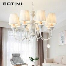 BOTIMI, lámpara LED nórdica con pantalla de tela para sala de estar, candelabros azules, iluminación moderna, lámpara colgante blanca para dormitorio