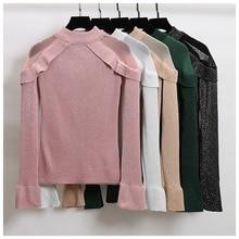 New spring ruffles knit t-shirt Women long sleeve Shirt bling O-neck Glitter mesh t-shirt female sexy shiny top flare sleeve 292