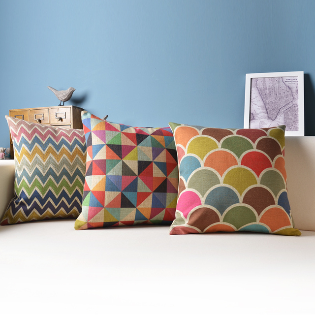 compre almofada geom trica almofadas decorativas colorido almofadas decora o de. Black Bedroom Furniture Sets. Home Design Ideas