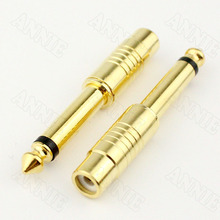 10pcs/lot Gold-plated 6.5 Male Turn RCA Female Adapter Mixing Console Audio Adapter недорого