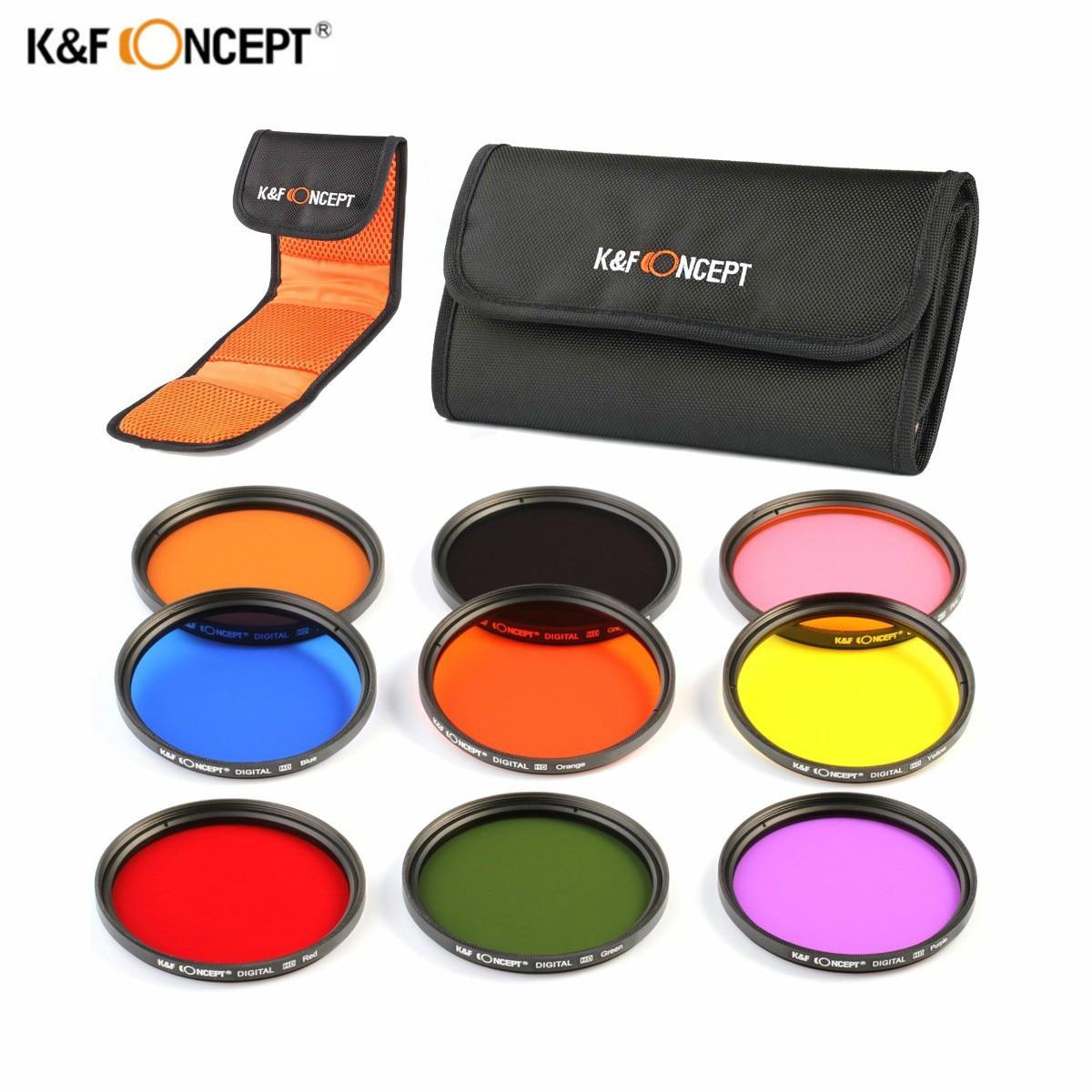 K&F Concept 9pcs 58mm Full Color ND Lens Filter Kit For Canon Rebel T4i T3i T2i T1i T3 For Nikon D7100 D5200 D3200 D310018-55mm 3pcs lot 58mm neutral density nd2 nd4 nd8 filter set 58 mm camera lens nd filtros for canon 600d 550d 450d rebel t4i t3 18 55mm