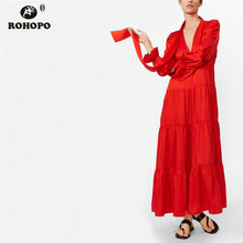 ROHOPO 4 Layers Cake Maxi Midi Dress Butterfly Long Sleeve Multiways Red Tie Collar English Style Runway Party #CW9018D