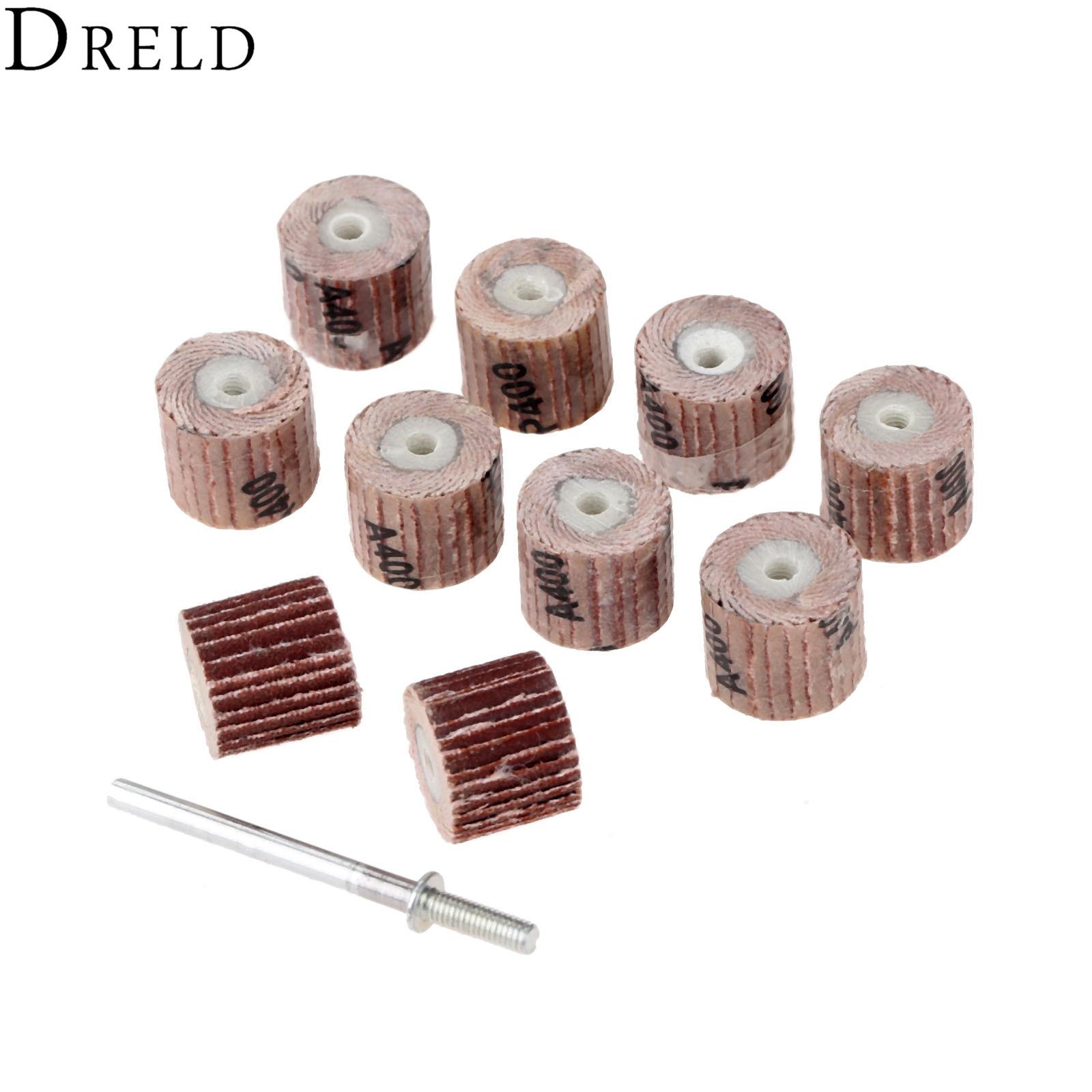 DRELD 10Pcs Dremel Accessories Sandpaper 12mm Grinding Sanindg Flap Wheel Brushes For Woodworking Disc With Mandrel 3mm Shank