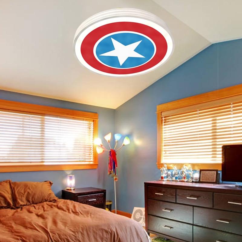 Boys Light Fixtures: White Captain America Star Kid Room Bedroom Children