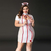 Adult Women Sexy Night Curvy Nurse Hottie Plus Size Costume Fancy White Bust Open Hollow Dress Temptation Uniform For Ladies
