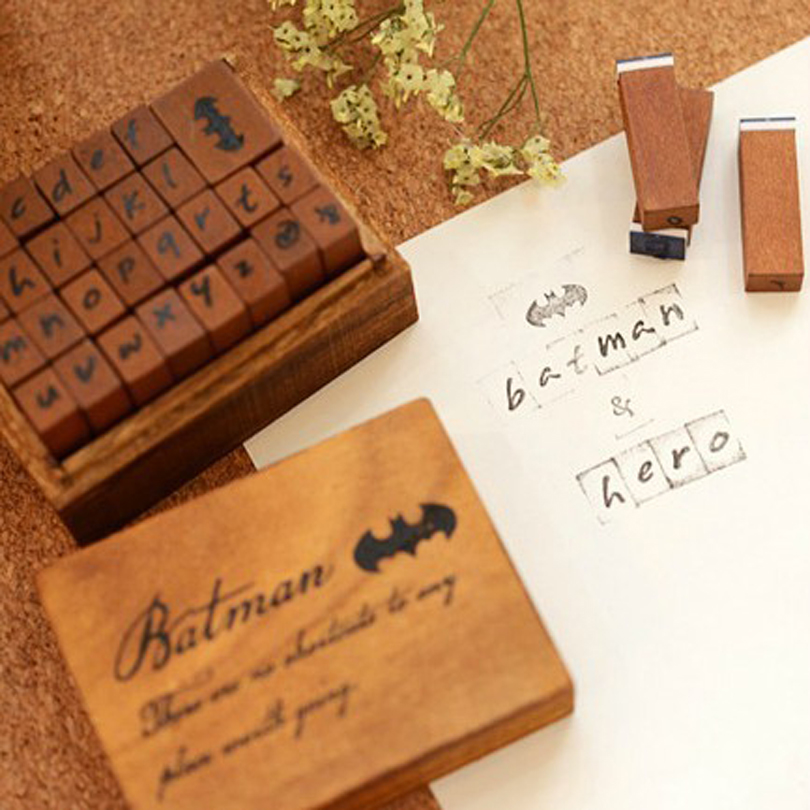 29pcs a box hero series the wooden box stamp English elementary education for children seals creative decorative wooden stamp