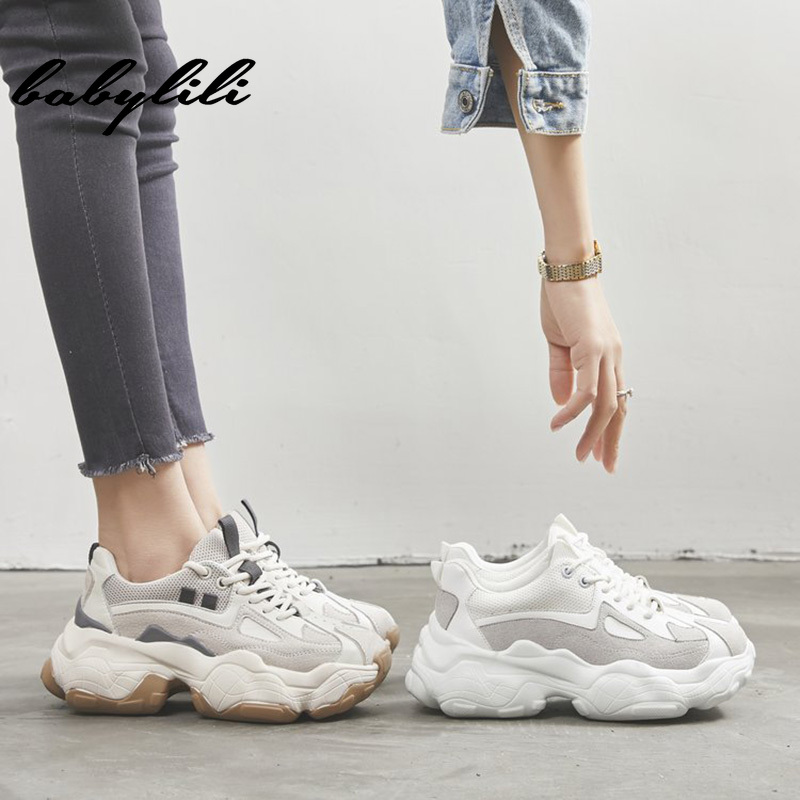Woman Fashion Thick Sole Sneakers 2019 Summer  Lace-up Running Shoes Ladies Thick Sole Basketball Shoes Women Leisure Sneakers