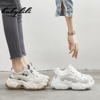 Woman Fashion Thick Sole Sneakers 2019 Summer Lace up Running Shoes Ladies Thick Sole Basketball Shoes Women Leisure Sneakers