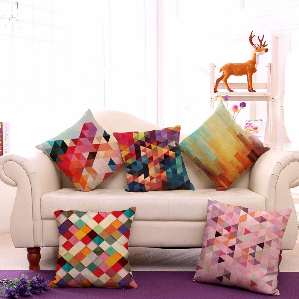 Декоративные диванные подушки Чехол абстрактный 3D геометрия хлопок белье Чехлы для диван автомобилей дома coussin украшения