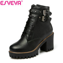 Esveva/2017 г. панк обувь в британском стиле мотоботы ботильоны на высоком квадратном каблуке на платформе короткие плюшевые ботинки осенние ботинки Размеры 34–43