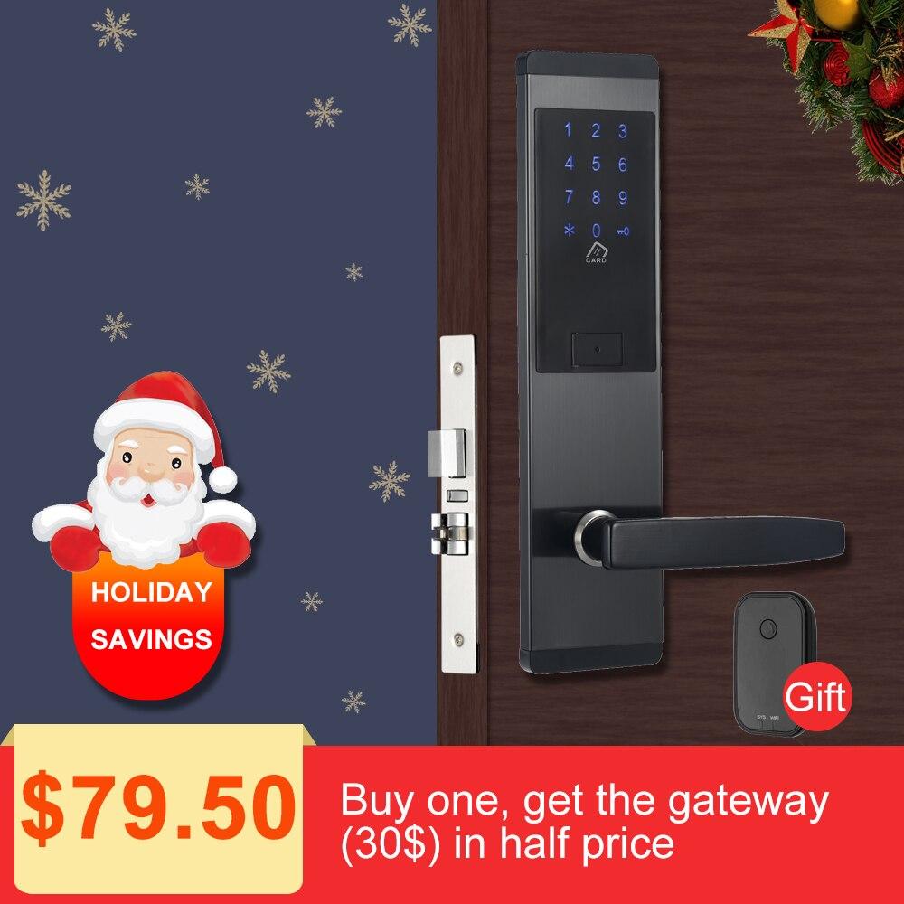 Электронный дверной замок безопасности, приложение wifi умный сенсорный экран замок, цифровой код клавиатуры Deadbolt для дома отель квартира
