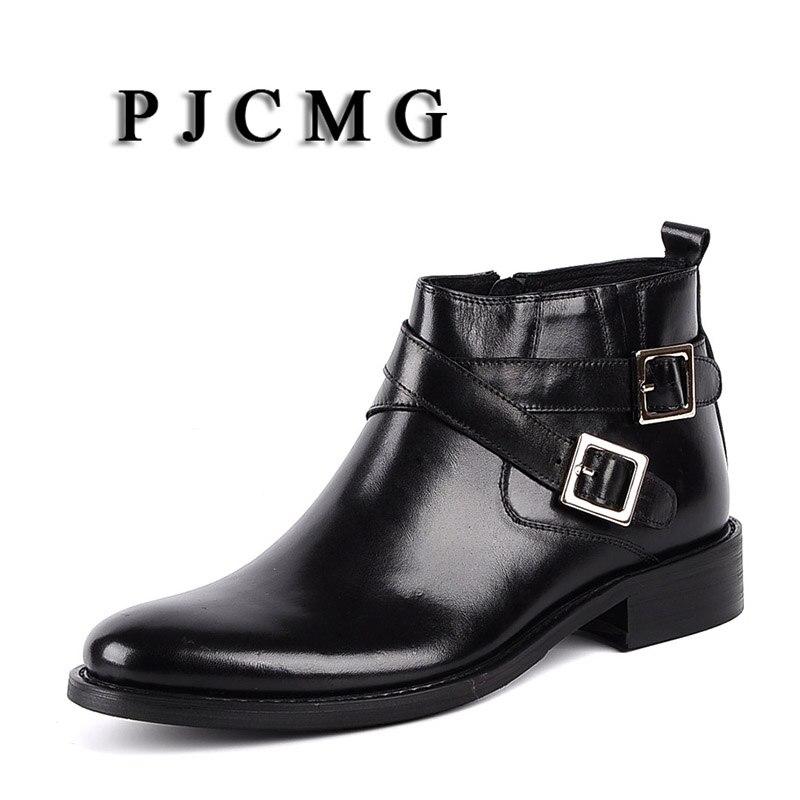 PJCMG nuevas botas de tobillo con hebilla de punta estrecha para Hombre Botas de motocicleta de cuero genuino para Hombre los zapatos de los hombres