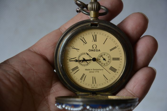 Rare Old Qing Dynasty royal BRASS GLASS clock \ mechanical Pocket watch, inlaid stones, Western people, can work, Free shipping