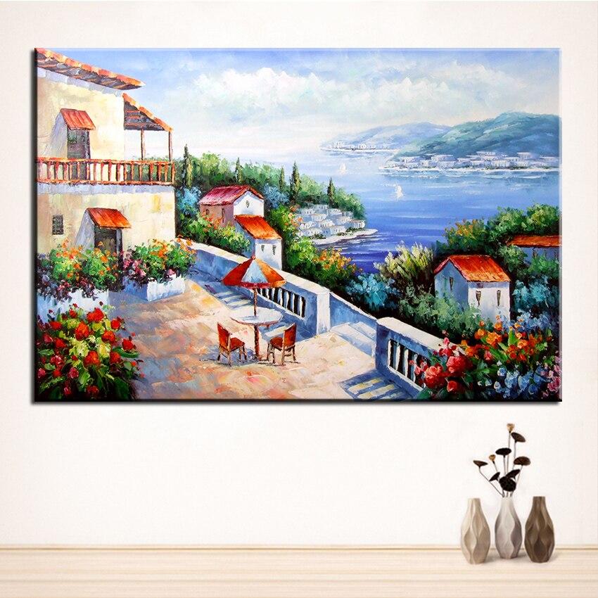 ୧ʕ ʔ୨Sin marco impreso Mediterráneo paisaje Pintura sobre tela ...