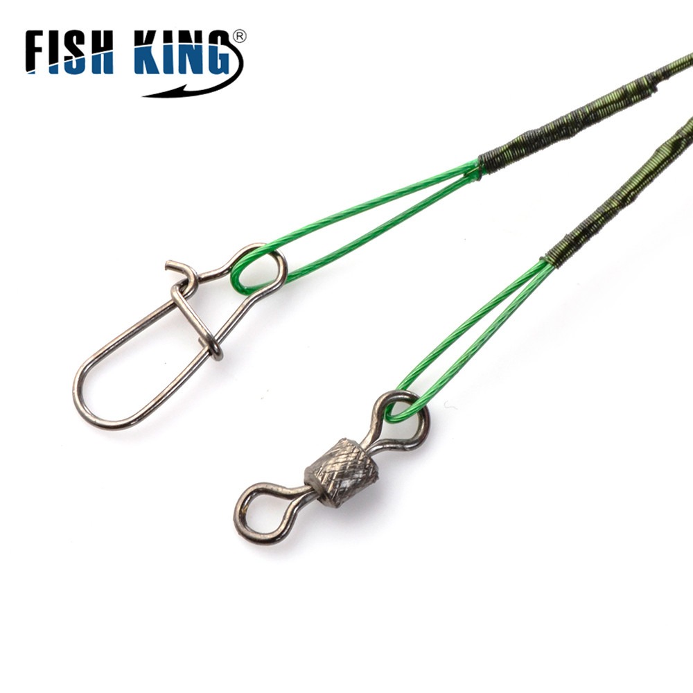 20pcs 16/20/25cm Anti-bite Steel Wire Leader Leashes For Fishing 50LB With Swivel Fishing Lure Accessories Pike Bass 2